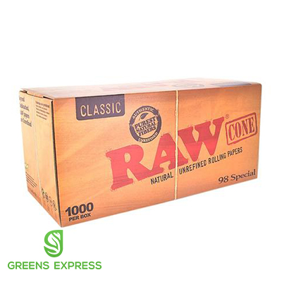 RAW PRE ROLLED CONES BOX - 98 COUNT